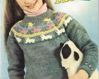 Sweaters For Young Girls - Sweater Knitting Pattern -  Toddler Girls Sweaters - Girls Cardigan Pattern - Animal Sweater - Beehive 442
