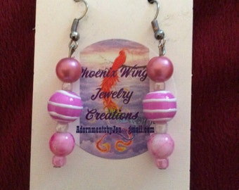 Pretty pink earrings, great for being in the pink!