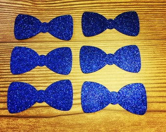 Bow Tie Cut Outs-Blue Glitter