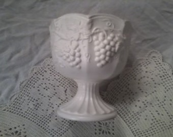 SALE Grapes, Grapes, and More Grapes! Vintage Off White Enesco Vase with Raised Grape Motif Price REDUCED HALF Off from 30 to 15 Dollars