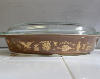Vintage Pyrex Early American Divided Casserole Dish