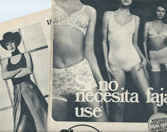 3 Vintage ads from 1971 -  Black and White ads - Retro ads - Spain