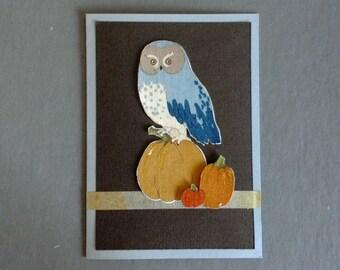 Handmade Fabric Blue Owl & Pumpkins Thanksgiving Day Card