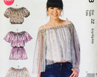 McCall's M7163 Misses' Tops Pattern, UNCUT, Size Large, X Large, XX Large, Very Loose Fitting, Peasant Top, Current Pattern