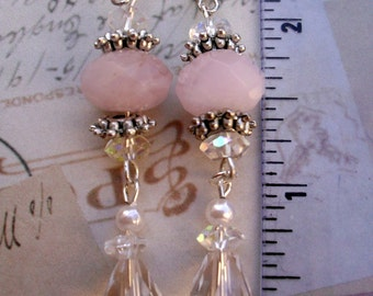 Misty Pink and Clear Crystal Swarovski Earrings