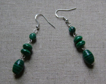 Sterling Silver Malachite Layered Charm Earrings