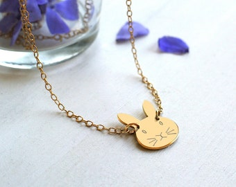Personalised Gold Little Bunny Necklace, bunny lovers gift, birthday gift, gold bunny rabbit necklace, bridesmaid thank you gift
