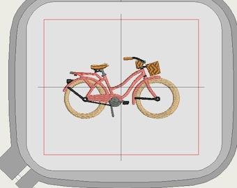 Beach bike embroidery design, 3 sizes, 4 x 4, 6 x 6 and 5 x 7