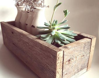 Rustic Wood Centerpiece Planter Box