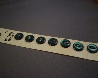 Green 11mm Buttons on Card, Vintage Button Basics, 7 count