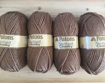 4 skeins of Patons Shetland Chunky - Taupe