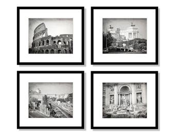 SALE, Rome Art, Italy Photography, Set of 4 Prints, Travel Decor, Black and White, Colosseum, Trevi Fountain. Rome Wall Art Print Set