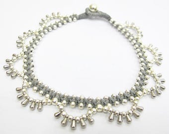 Silver Anklet - Little Cascade Rain Drop Silver Color Bead Ankle Bracelet with Grey Wax Cord.