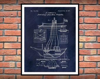 1871 Collier Patent Print - Colliers Raising Sunken Vessels Patent Print - Nautical Decor - Method for Ship Salvage
