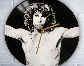 Jim Morrison the Doors painted retro vinyl clock
