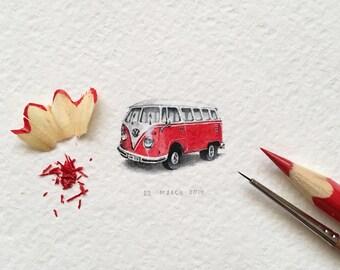 A red Volkswagen Samba Bus