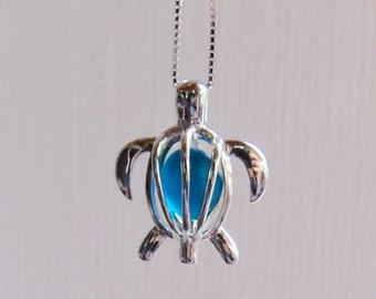 Sea Glass Turtle Deep Teal  Locket  Sterling Silver Honu