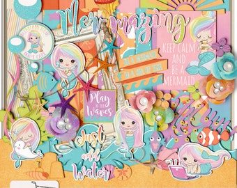 Mermazing Mermaid Beach Vacation Digital Scrapbook Kit