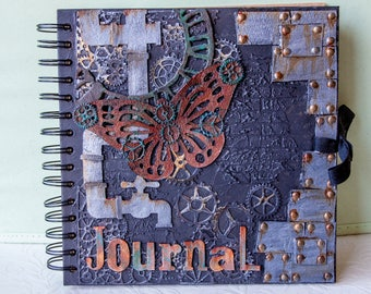Steampunk Inspired rivets, pipes and butterfly journal, free UK shipping