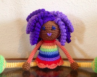 Crochet African Doll in Rainbow Colors, Plush curls twists dreads Locks Natural Black Hair Stuffed Toy Baby Girl Gift MADE TO ORDER