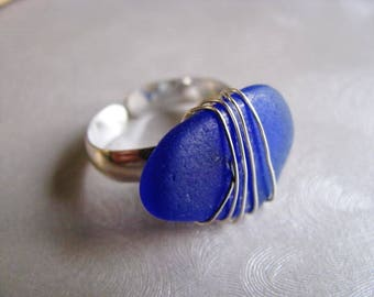 Blue Sea Glass Ring - Cobalt Blue - Beach Glass Ring - Beach Glass - Beach Glass Jewelry - Ocean Jewelry Gifts of the Sea - Pure Sea Glass