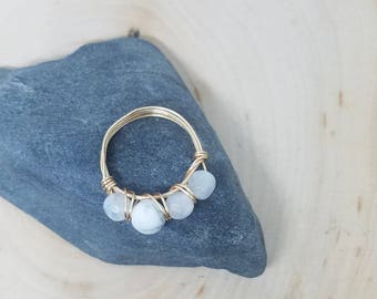Four Stone Howlite and Moonstone, Gold Wire Wrapped Ring - Size 6 // Gifts for Her