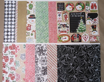 12 Sheets Cute 12 X 12 Scrapbook Paper CHRISTMAS HOLIDAY SNOWMAN Crafting A