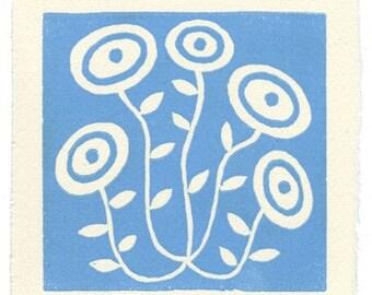 Wild Flower - linoleum block print