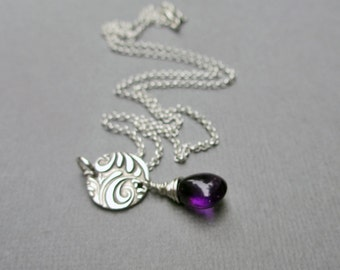 Amethyst Necklace, Purple Necklace, Amethyst Jewelry, PMC, February Birthstone, Gemstone Pendant Necklace Sterling Silver, Ultra Violet