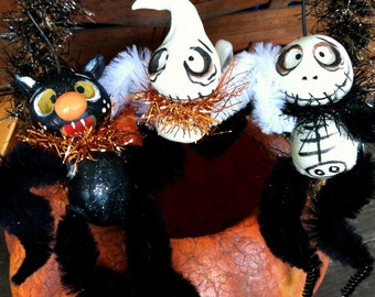 3 piece Halloween Spooky Hollow  feather tree ornament set made to order