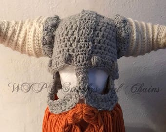 Crochet Viking helmet with long beard