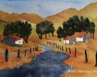Original Watercolor Summer Scene with Houses Trees Fence Stream
