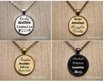 Personalized Name - Glass Dome Pendant or with Chain Link Necklace