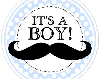 36 It's A Boy Stickers, Blue Polka Dots and Bow, Baby Shower Stickers, Gender Reveal Labels