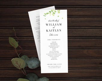Kraft Modern Wedding Ceremony Program