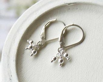 Tiny Dangle Earrings, Sterling Silver Drop Earrings, Silver Leverback Earrings, Everyday Jewelry