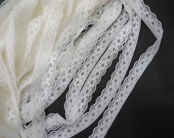"10 yd / 9 meter Offwhite Stretch Lace Elastic Lace Trim Craft for clothing 5/8"" 16mm width L628"