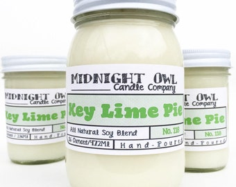 Key Lime Pie Candle - handmade candles, popular candles, scrnted soy candle, Mason Jar Candle, dessert candle, Midnight Owl Candle Co.