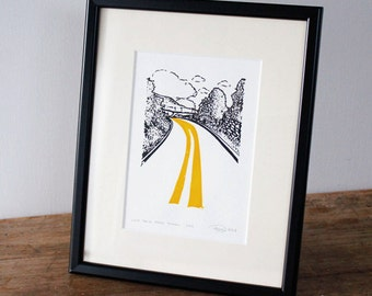 Yorkshire Country Road Print, Limited Edition gocco screen print