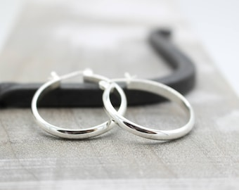 Sterling Silver Hoop Earrings with lever click latch