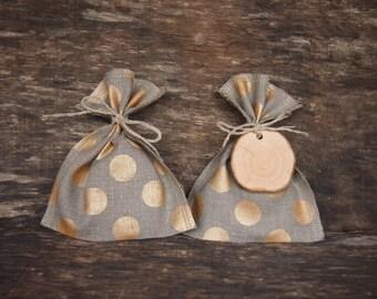 5 Christmas Linen Gift Bags, Christmas Gift Bag, Gift Bags, Various Size