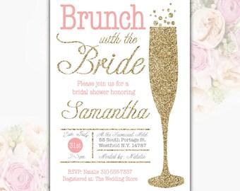 Brunch Bridal Shower Invitation Champagne Bridal Shower Invitation Gold Sparkle Shower Invite Pink White Pink Printable DIGITAL FILE O6