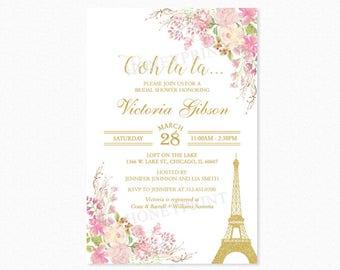 Paris Eiffel Tower Bridal Shower Invitation, Paris Themed Bridal Shower Invitation, Watercolor Flowers, Gold Glitter, Printable or Printed