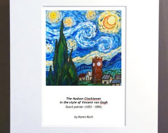 Print of The Hudson Ohio Clocktower In The Style of Vincent van Gogh, Starry Night, 10x8 inches, Matted, by Ohio Artist Karen Koch