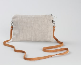 Linen Bag, Simple Cross Body Bag, linen CrossBody Purse, Minimalist Bag, Linen Cross Body Bag, Hip Bag, Leather Strap bag, Linen Handbag