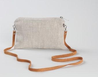 Linen Bag, Simple Cross Body Bag, linen CrossBody Purse, Minimalist Bag, Linen Cross Body Bag, Hip Bag, Leather Strap bag, Linen Handbag