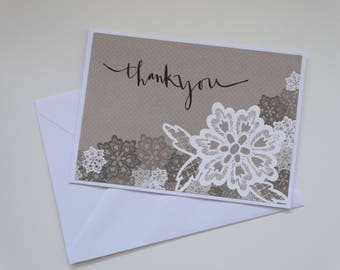 Simple Brown Floral Thank You, A6 Card