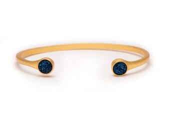 Druzy POP Cuff - Royal Blue Druzy in Yellow Gold - Druzy / Drusy Bangle Bracelet - Druzy Cuff - Druzy Bangle - Druzy Bracelet