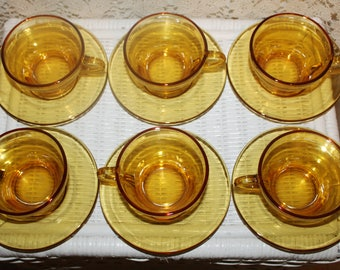 Amber Glass Cups & Saucers Set of 6 Coffee or Tea Cups and Saucers Very Nice