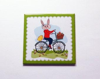 Easter Bunny Magnet, Easter magnet, Easter Bunny, Magnet, Fridge magnet, Easter, Easter Rabbit, Easter gift, bunny on bike (7176)